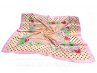 Fényes kendő virág mintával 90x90 - rózsaszín