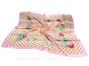 Šátek 90x90 lesklý květiny - růžový
