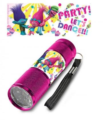 Dětská hliníková LED baterka Trollové PARTY