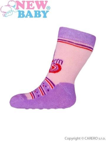 Kojenecké ponožky New Baby s ABS růžovo-fialové my heart