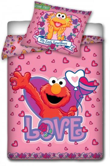 Povlečení do postýlky Sesame Street růžová 100/135 cm