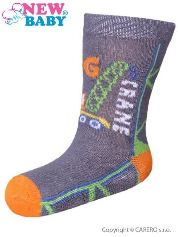 Dojčenské bavlnené ponožky New Baby sivé big crane