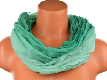 Dámský tunelový šátek v odstínech jedné barvy - tmavě zelený