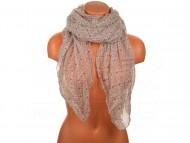 Letní šátek s motivem květů, 170x75cm - šedovínový