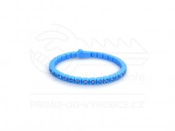 Náramek gumový s kamínky - světle modrý