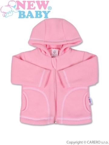 Dojčenský fleecový kabátik New Baby Kubík ružový