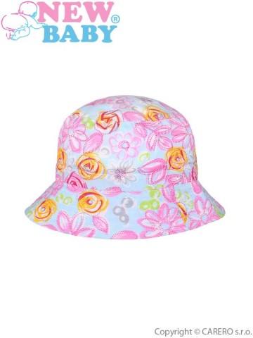 Letný detský klobúčik New Baby Kytička modrý
