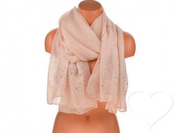 Dámský jednobarevný bavlněný šátek s kamínky - růžový