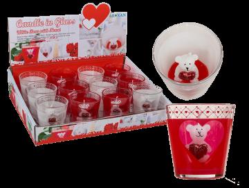 Gyertyatartó mackó szívvel - fehér / piros