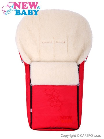 Luxusný fusak s ovčím rúnom New Baby červený