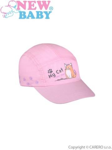 Letní dětská kšiltovka New Baby My Cat světle růžová