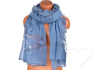 Dámský jednobarevný šátek - modrý