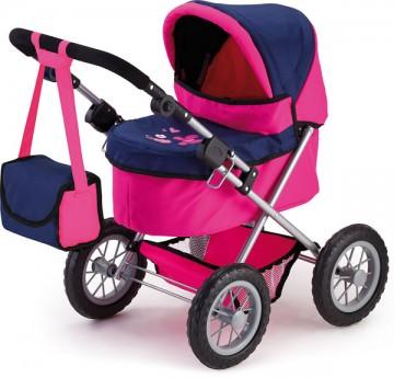 Kočárek pro panenky Bayer Trendy růžovo-modrý