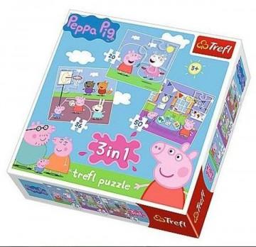 Puzzle Prasátko Peppa Pig 3v1 Kamarádi