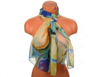 Letní šátek - abstraktní, 165x50cm - modrý