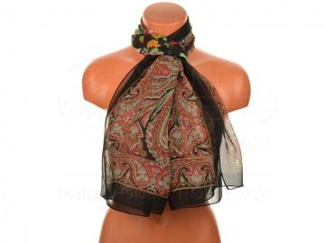 Letní šátek s motivem orientálních květin, 165x50cm - černý