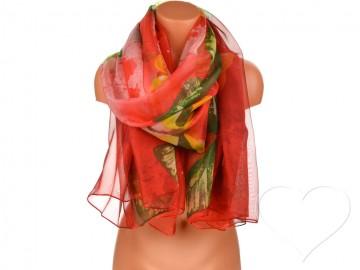 Eșarfă pentru femei cu fluturi - roșu