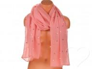 Dámský jednobarevný bavlněný šátek s perlami - sytě růžový