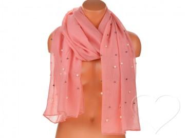 Eșarfă pentru femei de o culoare din bumbac cu perle - roz aprins