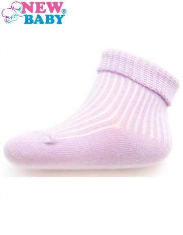 Dojčenské pruhované ponožky New Baby svetlo fialové