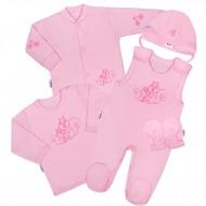 5-részes pamut baba együttes New Baby Mókusokkal rózsaszín
