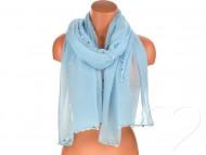 Dámský jednobarevný bavlněný šátek s perlami - azurový