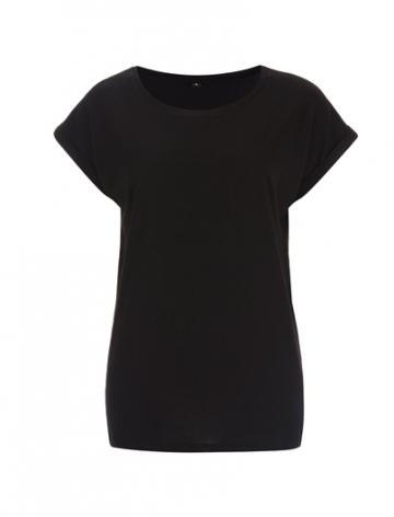 Dámské bambusové tričko, krátké volné rukávy - černé, 1 ks - velikost S