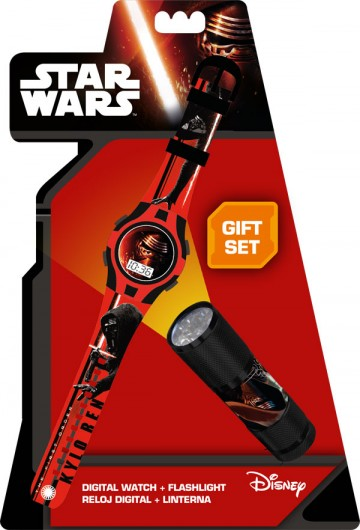 Dárková sada Star Wars VII hodinky a LED baterka