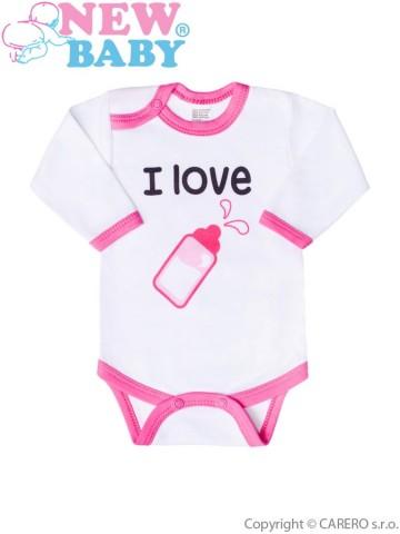 Body s potlačou New Baby I love milk ružové