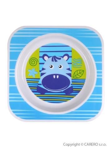 Detský tanier Akuku modrý s hrochom