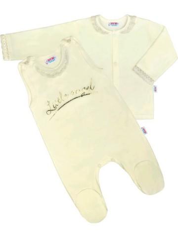 2-dielná bavlnená súprava New Baby Angel béžová