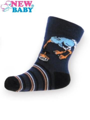 Detské bavlnené ponožky New Baby tmavo modré s pštrosom