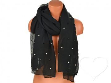 Dámský jednobarevný bavlněný šátek s perlami - černý