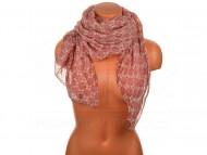 Letní šátek s motivem květů, 170x75cm - červený
