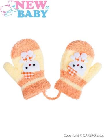 Dětské zimní rukavičky New Baby se šňůrkou kočička žluté