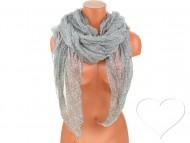Letní šátek s motivem květů, 170x75cm - šedý