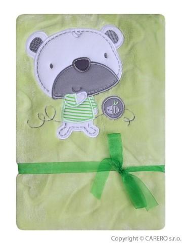 Detská deka Koala Srdiečka zelená s medvedíkom