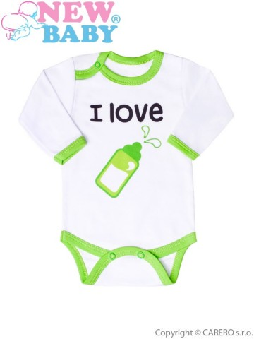 Body s potlačou New Baby I love milk zelené