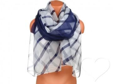 Dámský pruhovaný šátek - modrý
