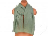 Dámský jednobarevný bavlněný šátek s kamínky - khaki