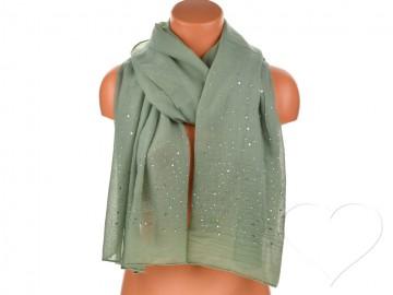 Eșarfă pentru femei de o culoare din bumbac cu pietricele - khaki