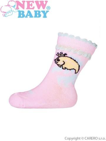 Kojenecké bavlněné ponožky New Baby růžové s rybou