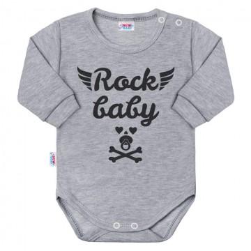 Dojčenské body s dlhým rukávom New Baby Rock baby sivé