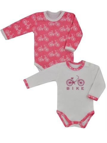 Dojčenské body s dlhým rukávom Koala BIKE 2 ks v balení ružovo-bielé