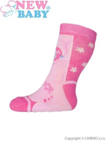Kojenecké ponožky New Baby s ABS růžové s ptáčkem