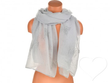 Dámský jednobarevný bavlněný šátek s kamínky - šedý