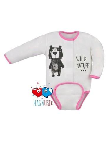 Dojčenské body celorozopínacie Koala Magnetky Wild Bear bielo-ružové