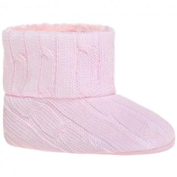 Dětské zimní capáčky Bobo Baby 3-6m růžový úplet