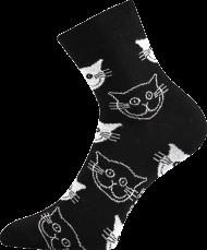 Ponožky Kočky, černé - 1 pár, velikost 39-42