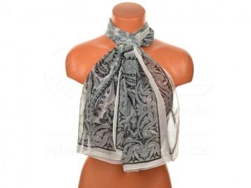 Letní šátek s motivem orientálních květin, 165x50cm - bíločerný